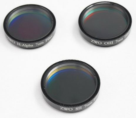 ZWO 1.25'' H-Alpha, SII & OIII 7nm Narrowband Filter Set