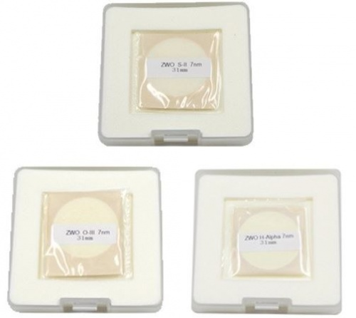 ZWO 31mm H-Alpha, SII, OIII 7nm Narrowband Unmounted Filter Set